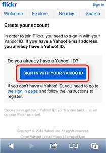 flickr SIGHN IN WITH YOUR YAHOO ID
